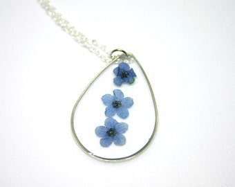 Forget Me Nots Flower Necklace, Real Flower Necklace, forgetmenots Flower, Blue Flower, Botanical Jewelry, Pressed Flower Jewelry