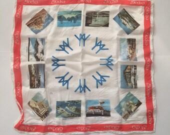 Expo 67 Souvenir Scarf - Made in Japan