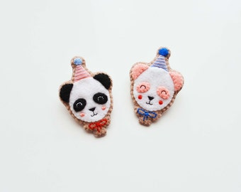 Panda Brooch / Felt Panda Pin / Balloon Panda Brooch / Party Panda Felt Brooch / Panda Bear Brooch / Kawaii Panda Pin / Animal Brooch