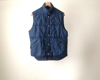 PUFFY ski VEST solid BLUE 80s classic style outdoors