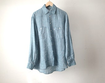 LINEN light turquoise 90s SAFARI long sleeve button up shirt