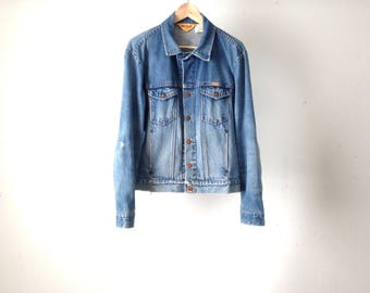 vintage levi's style men's FADED blue jean DENIM classic light blue cotton jean jacket distressed vintage coat