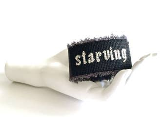 feminist cuff bracelet // cross stitch cuff bracelet // cross stitch quote // starving // geek jewelry // black arm cuff // emo bracelet