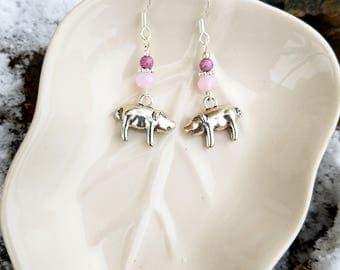 Pink Pig Earrings, Light Pink Pig Sterling Silver Dangle Earrings, Silver Pig Charm Sterling Silver Earrings, Pig Earrings