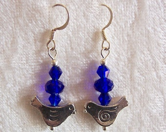 Cobalt Blue Crystal Earrings, Silver Dove Earrings, Blue Earrings, Bird Earrings, Love Bird Earrings, Clip ons Available, Silver Earrings