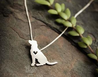 Labrador retriever, tiny sterling silver necklace, handmade dog jewelry, pendant, pet