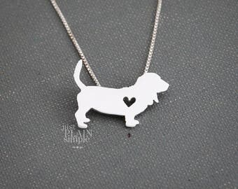 Basset Hound necklace, tiny sterling silver hand cut pendant with heart, tiny dog breed jewelry