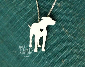 Pit Bull, sterling silver necklace, hand made every day wear, pet lover jewelry, family pet, pendant