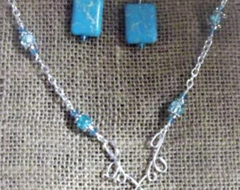 Dyed Blue semi precious stone Earrings and Necklace Set, Blue Beads and Wire Necklace and Earrings Set