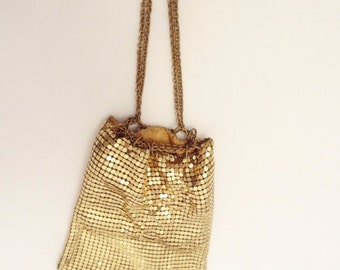 Vtg 20s Gatsby Whiting & Davis Gold-tone Mesh Drawstring Change Purse Bag Pouch