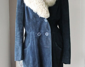 10% OFF 70s Blue Suede Coat three quarters coat with pile collar stitching detail size medium to large