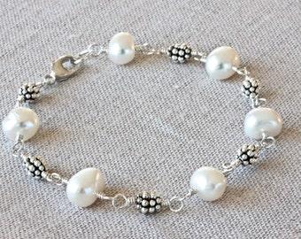 Baroque Pearl Bracelet, Freshwater Pearl Bracelet, Handmade Silver Bracelet, Sterling Silver Jewelry, Real Pearl Bracelet, Beaded Bracelet