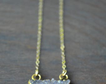 Lilac Druzy Crescent Necklace in Gold