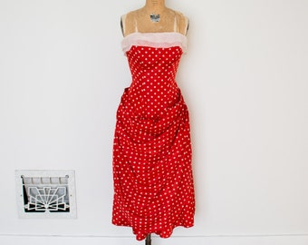 Vintage 50s Dress - 1950s Polka Dot Dress - The Suzy