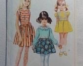1968 Girls' Dress, Mod Dress, Gathered Skirt, Sleeveless- 60s Vintage Simplicity Sewing Pattern 7740- Girl Child Size 4 Breast 23