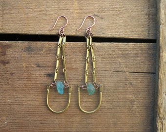 kyanite dangles / brass earrings / brass dangles / KYANITE & BENT BAR