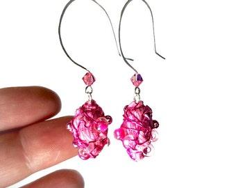 Hot Pink Drop Earrings, Hot Pink Earrings,  Bead Dangle Earrings,  Fiber Art, Art Jewelry, Artsy Gifts
