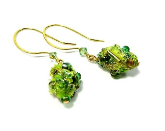 Lime Green Drop Earrings, Lime Green Earrings,  Dangle Bead Earrings,  Fiber Art Jewelry, Nature Lover Gift, Moss Green