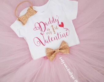 First Valentines Day Onesie, Daddy Valentine onesie, Baby's First Valentine's Day, Valentine's  Onesie