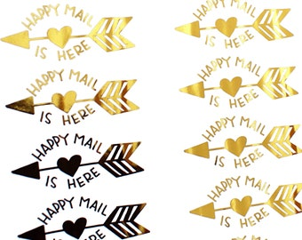 GOLD FOIL Happy Mail with Arrow handlettered stickers - gold happymail stickers for packaging, penpal letters, cards