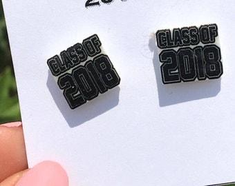 Class of 2018 Earrings - Nickle Free graduation earrings