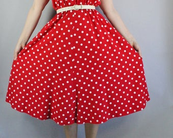 Summer Dress, 90s does 50s Red White Polka Dots Dress, Fit and Flare, Sleeveless Dress, vlv, Pinup, Rockabilly, Midi, Size Medium