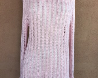 Sheer Pink Long Sleeves Cotton Knit Mini Dress or Tunic with pink faux fur