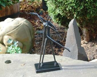 Bodrul Khalique (1978-2013)  Bronze Ballet Dancing Pair Sculpture designed by Bodrul Khalique of Sweden, Graceful Modernist Dancing Couple