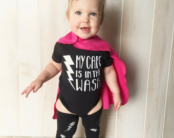 My Cape Is In The Wash BABY ONESIE or RAGLAN T Shirt - Kids t shirt - Baby shower gift - New Baby Gift - Baby superhero - Superkidcapes
