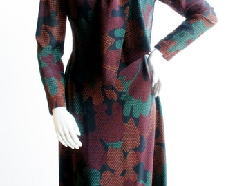 1960s Pauline Trigere Fall Print Dress and Matching Scarf Waist 28""