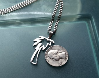 Unisex Stainless Steel Palm Tree Necklace on a 3mm cable chain, palm tree pendant