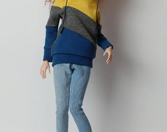 yellow/gray/blue stipes sweatshirt for FR16 Tonner Tyler minifee MSD and other 1/4scale