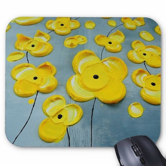 Yellow Flowers Mousepad Mouse Pad Fine Art Painting Abstract Impasto Blossoms Fine Art Contemporary Modern Original Art Flower