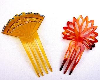 2 faux tortoiseshell vintage hair combs mid century art deco hair accessory hair pin hair pick hair fork Spanish comb
