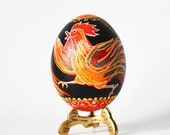 Rooster ornament for Chinese New Year 2017 rel hen egg hand painted by Toronto artist Katya Trischuk
