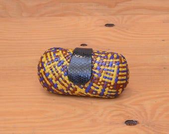 Unique Straw Woven Hard Shell Sun Glasses Case With Purse String