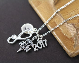 RN Graduation Gift, RN Gifts, Nurse Graduation Gift Necklace Jewelry, 925 Sterling Silver
