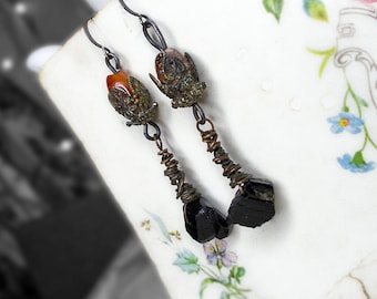 Rustic Assemblage Earrings - Fancy Dark Drop Bead Earrings - Black Tourmaline Nuggets, Copper Wire Wrapping - Layered Goth Caps