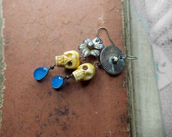 Rustic Beaded Earrings -  Assemblage Earrings - Carved Bone Skulls - Altered Metal - Mexican Silver Flower, Solar Disc, Aqua Glass Drops
