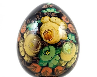 Ukrainian Egg, Hand Painted Floral Lacquered Easter Egg with Stand, Vintage Signed Russian Collector Egg Figurine