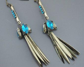 Tassel Earrings - Brass Earrings - Rhinestone Earrings - Teal Blue Earrings - Boho Earrings - Handmade Jewelry