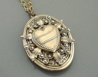 Locket Necklace - Heart Necklace - Vintage Necklace - Statement Necklace - Brass Necklace -  handmade jewelry