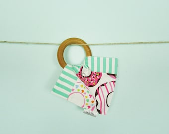 Doughnut Teething Ring with Handkerchief, Wooden Teething Toy