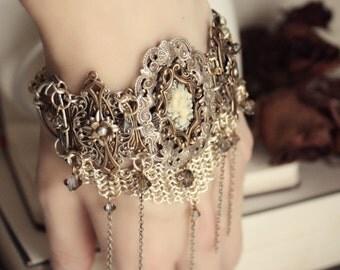 SALE - Aged Silver & Brass Bracelet - Cuff - Cameo - Black - Cream - Swarovski - Floral - Chainmaille - Unique - Bridal - Holidays - Boho