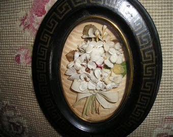 Antique French Mourning Ebony Wood Framed Memorial Cloth/Silk Flowers Plaque/Pendant Reliquary.