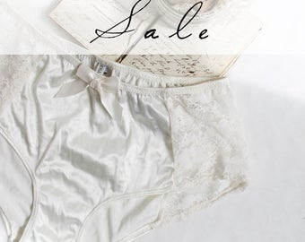Ivory Satin and Lace Vintage Style Hipster Panties Size Large Ready to Ship Sale