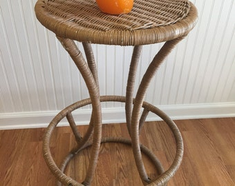 WRAPPED RATTAN BARSTOOL, Vintage Rattan Bar Stool, Vintage Wicker Bar Stool, Beach Decor, Tiki Bar at Modern Logic
