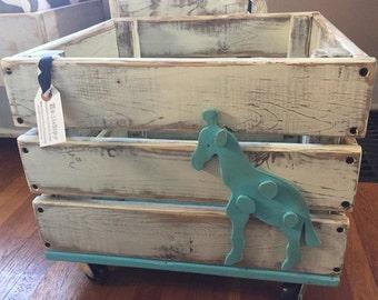 Aqua Giraffe Toy Storage Crate