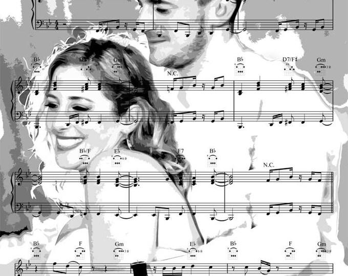 First Dance Sheet Music Song Lyrics Custom Unique Wedding Song Word Art Parents Anniversary Gift Canvas Art 16x20