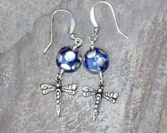 Dragonfly Earrings, Blue Earrings, Blue Polka Dot Earrings, Glass Earrings, Insect Earrings, Dragonfly Jewelry, Handmade Earrings, For Her